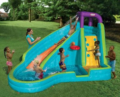 slam and curve slide your kids inflatable backyard pool. Black Bedroom Furniture Sets. Home Design Ideas